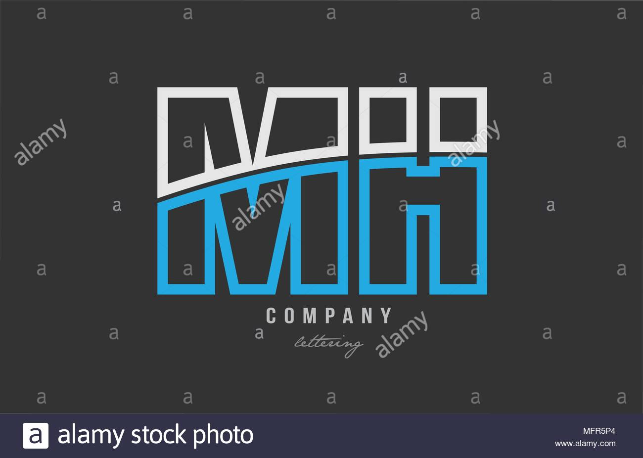 white blue alphabet letter mh m h logo combination design on black 1300x926