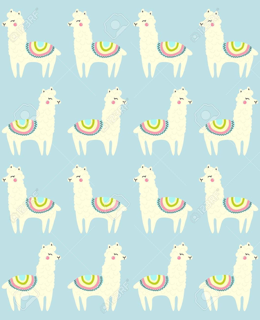 Llama Seamless Repeating Pattern On Blue Background Vector 1056x1300