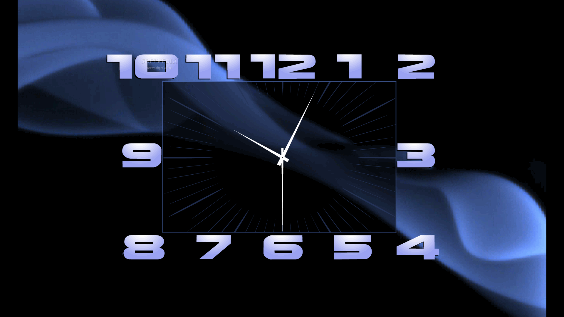 an analog clock with big readable numbers and a background animation 1920x1080
