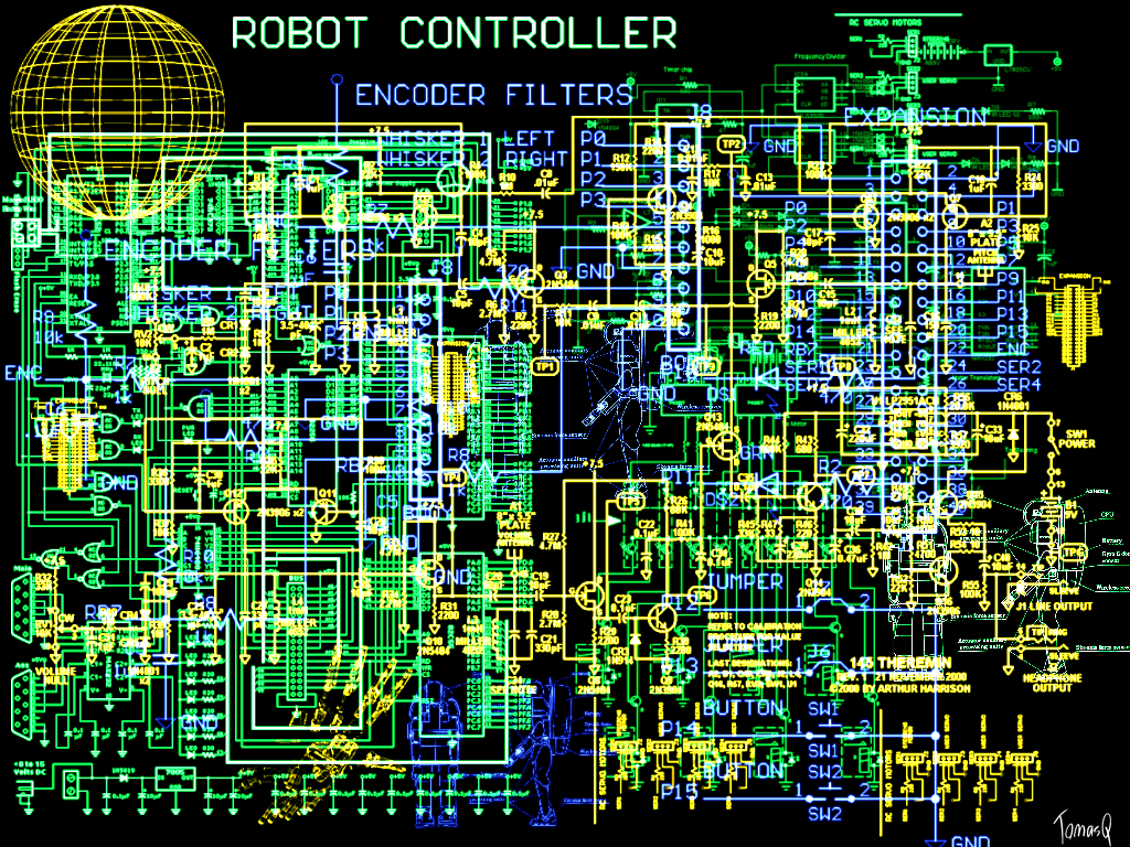Electronic Schematic Wallpaper By TomasQ 1024x768