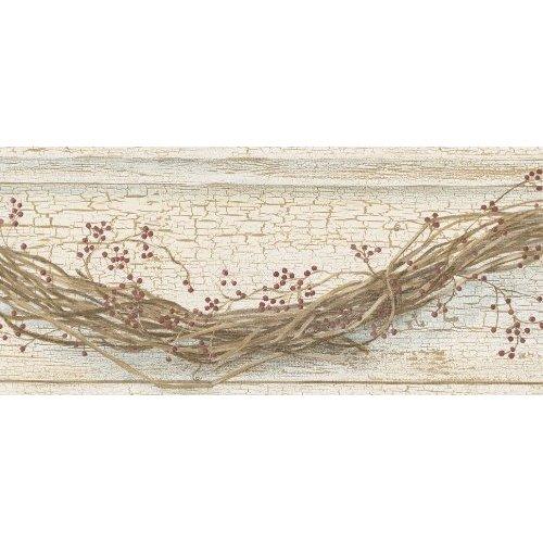 Country Vine and Stars Wallpaper Border RF3521BD 1499 Burgundy 500x500
