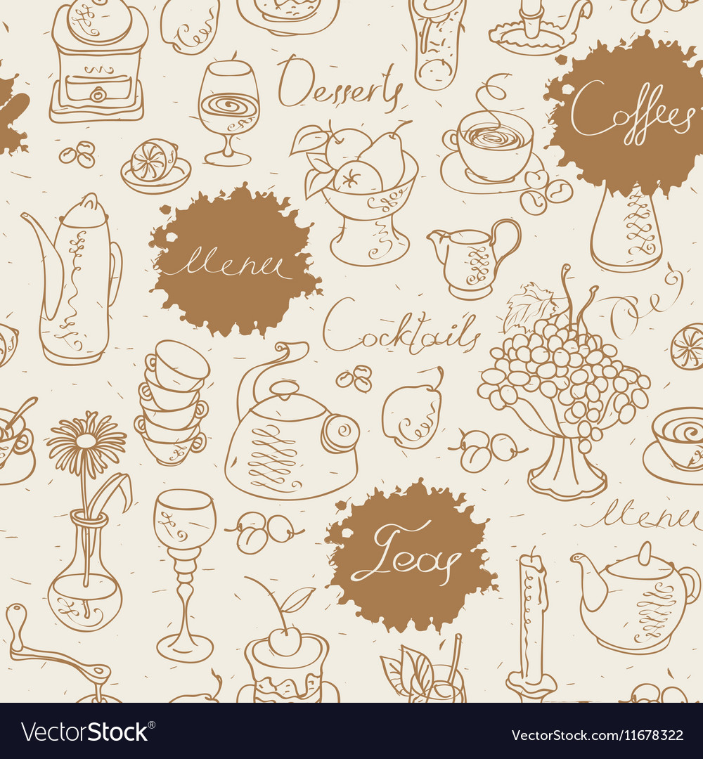 Seamless background on tea and coffee Royalty Vector 1000x1080