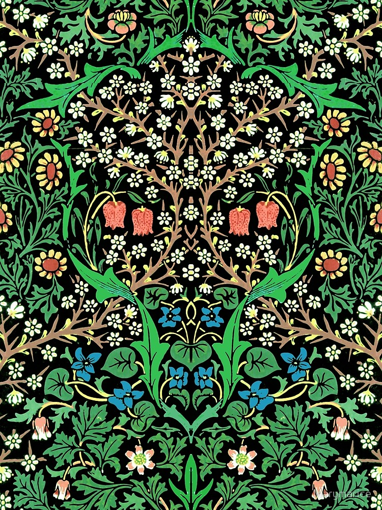 William Morris Jacobean Floral Black Background Poster by 750x1000