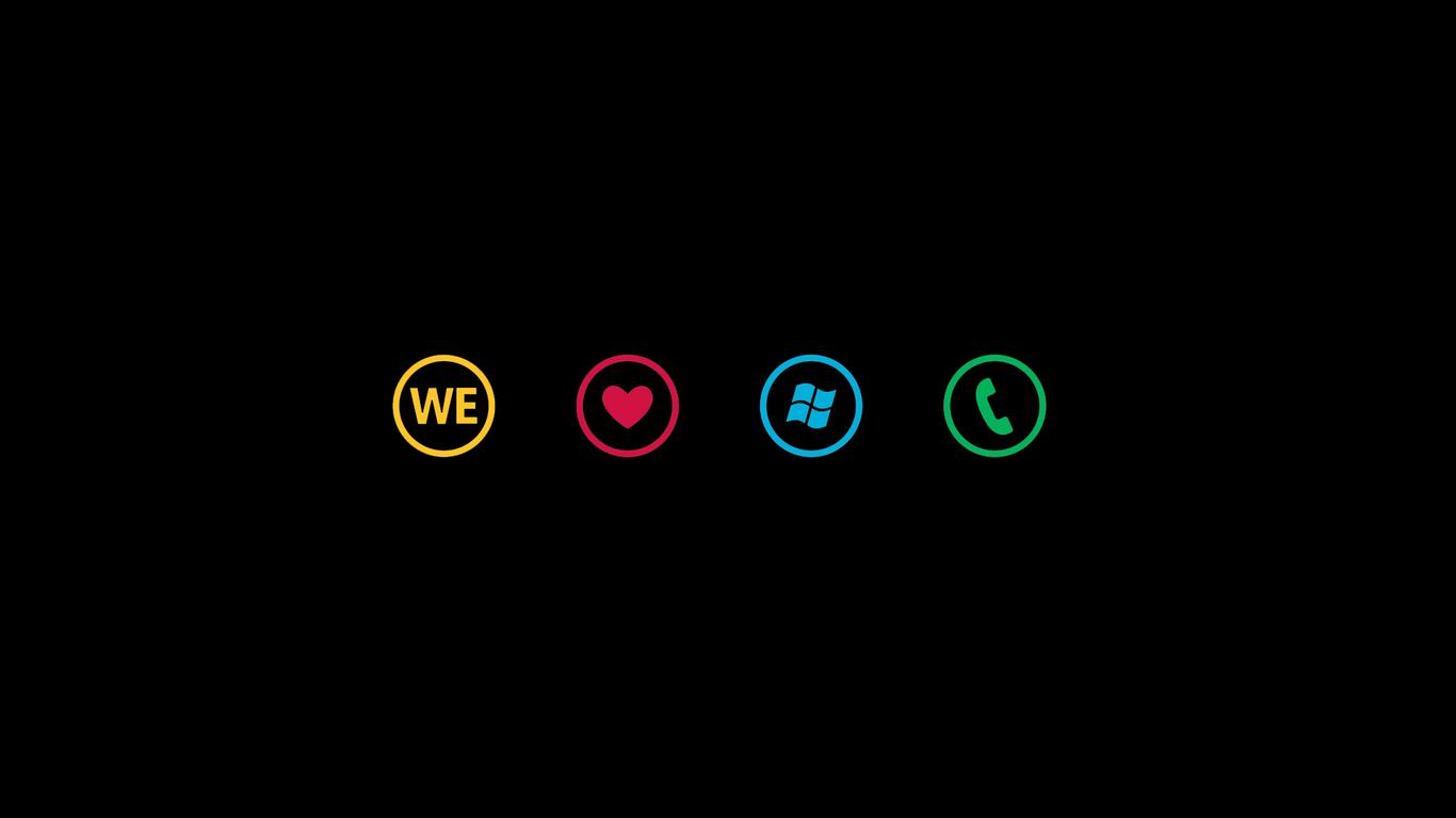 Download We Love Windows Phone wallpaper 1366x768