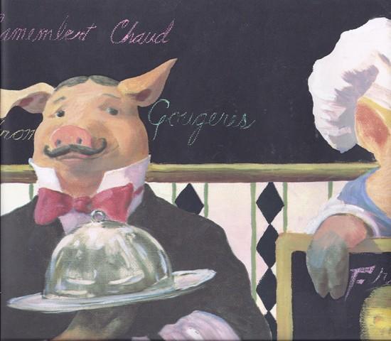Black Restaurant Pig Servers Wallpaper Border   Novelty 550x480