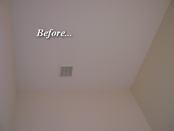 ceiling will get a three piece crown molding treatment and wallpaper 570x428