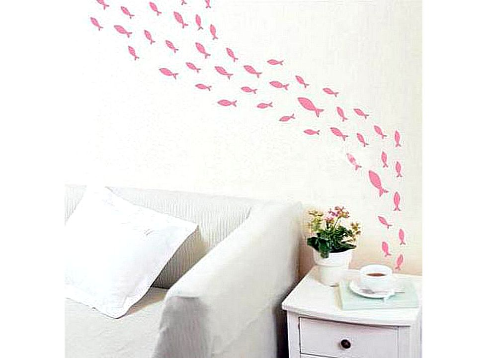 Small Fish Pattern Graffiti Removable Wallpaper JH098 Buy at lowest 980x720
