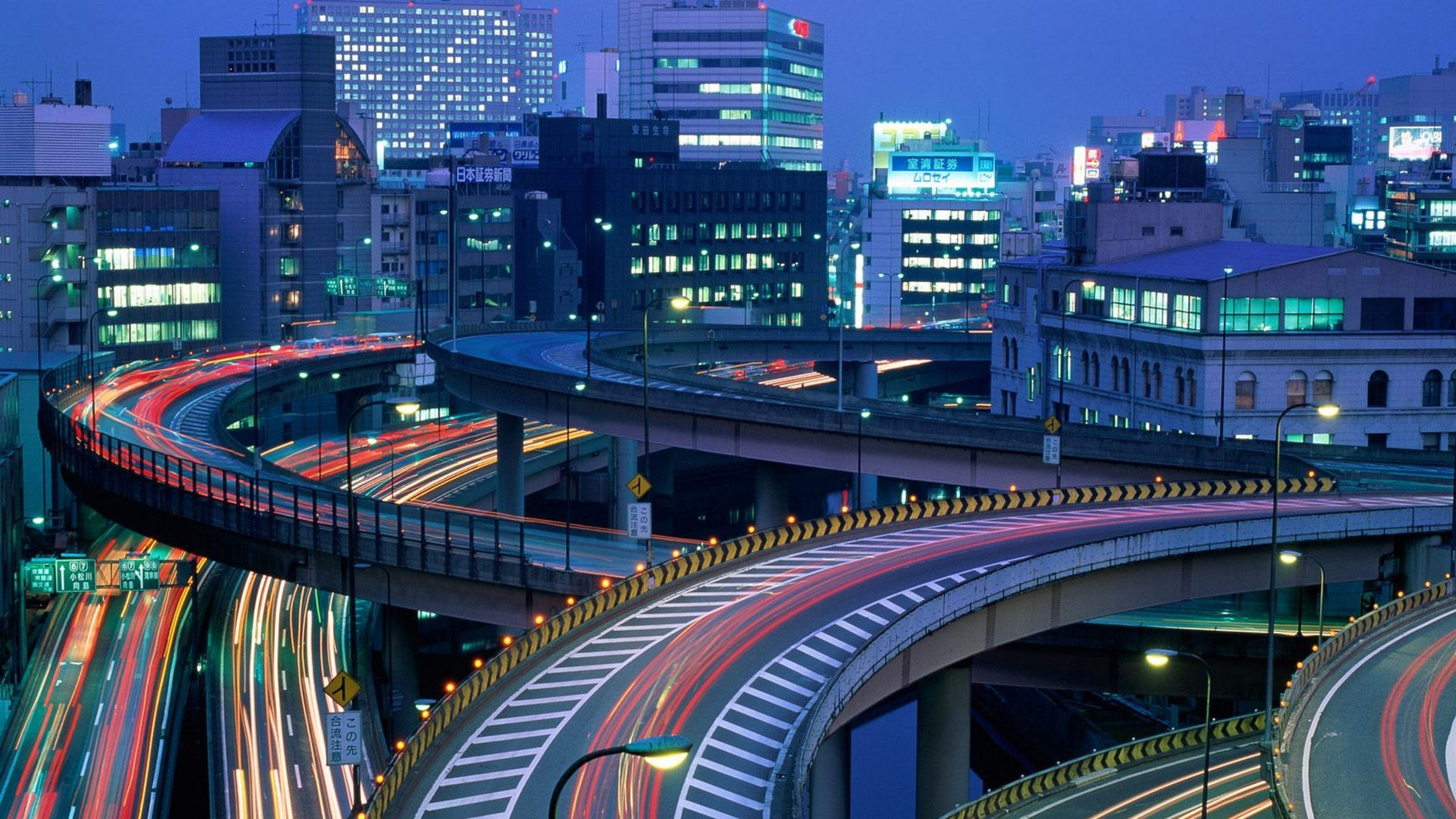 Japan Roads Traffic Plexus Civilization Wallpaper Background 4K 3840x2160
