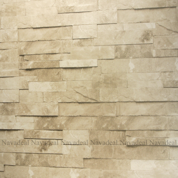 White Cream Stacked Brick Stone Faux Realistic PVC Wallpaper Sheet 600x600