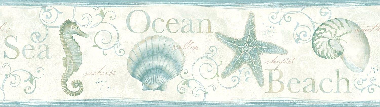 Sea Horse Starfish and Shells Wallpaper Border teal beach nautical 1500x425
