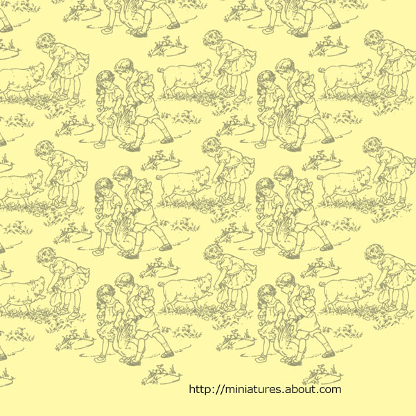 Golden yellow wallpaper with children and farm animals for a 112 600x600
