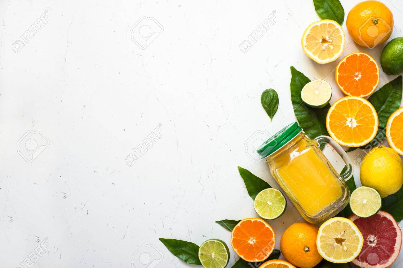 Citrus Juice Smoothie And Ingredients On White Fruit Food 1300x866