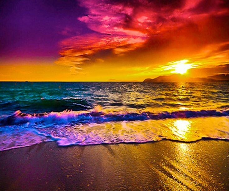 beach beach sunsets nature colors the ocean rainbows sunris beautiful 736x613