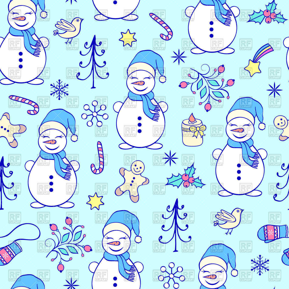Seamless pattern with hand drawn snowmen on blue background 1200x1200