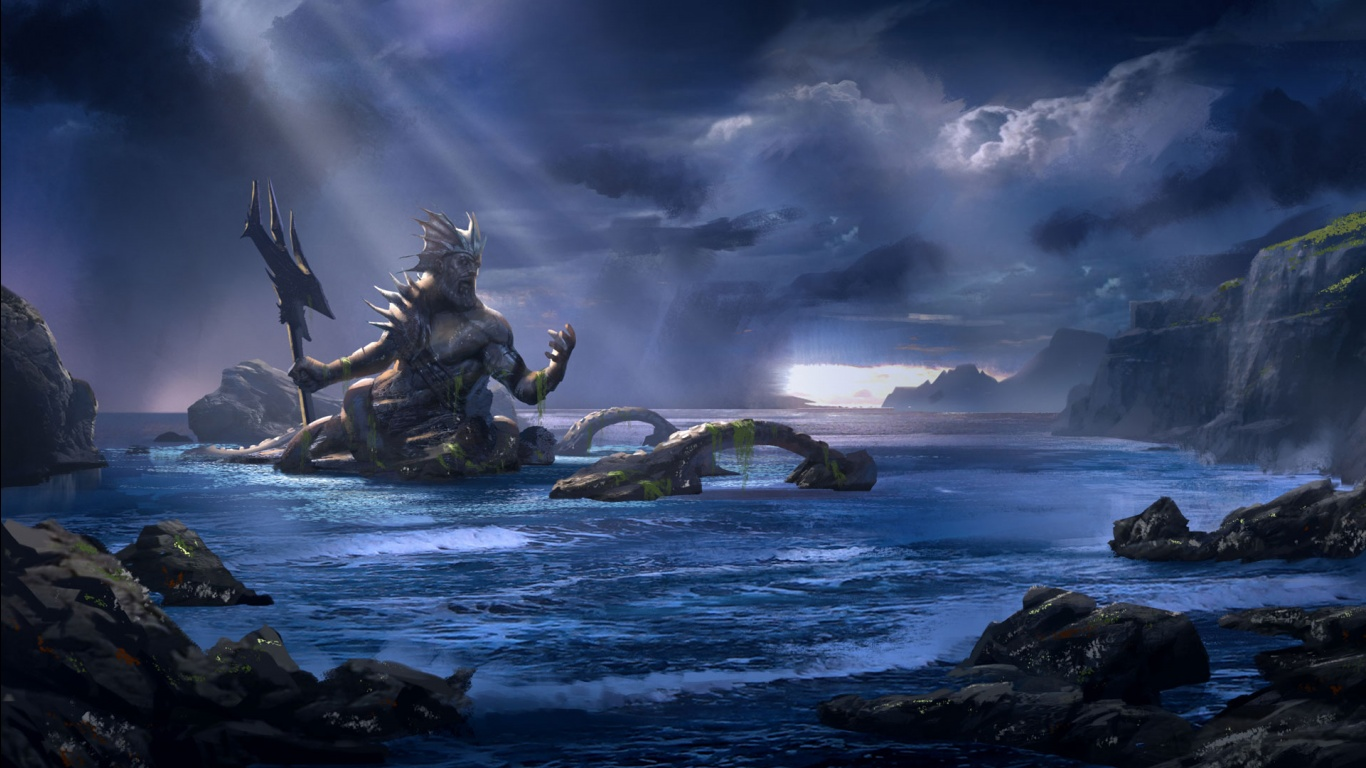 God of War Ascension Poseidon Wallpapers HD Wallpapers 1366x768