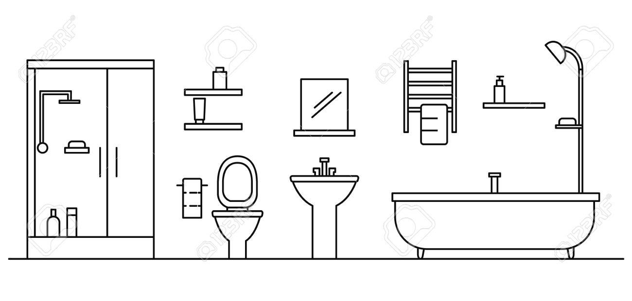 Bathroom Concept Background Outline Illustration Of Bathroom 1300x620