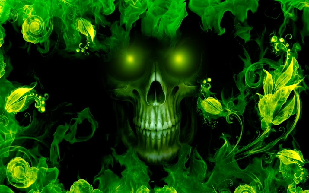 Green Fire Wallpaper Background Green Skull Wal...
