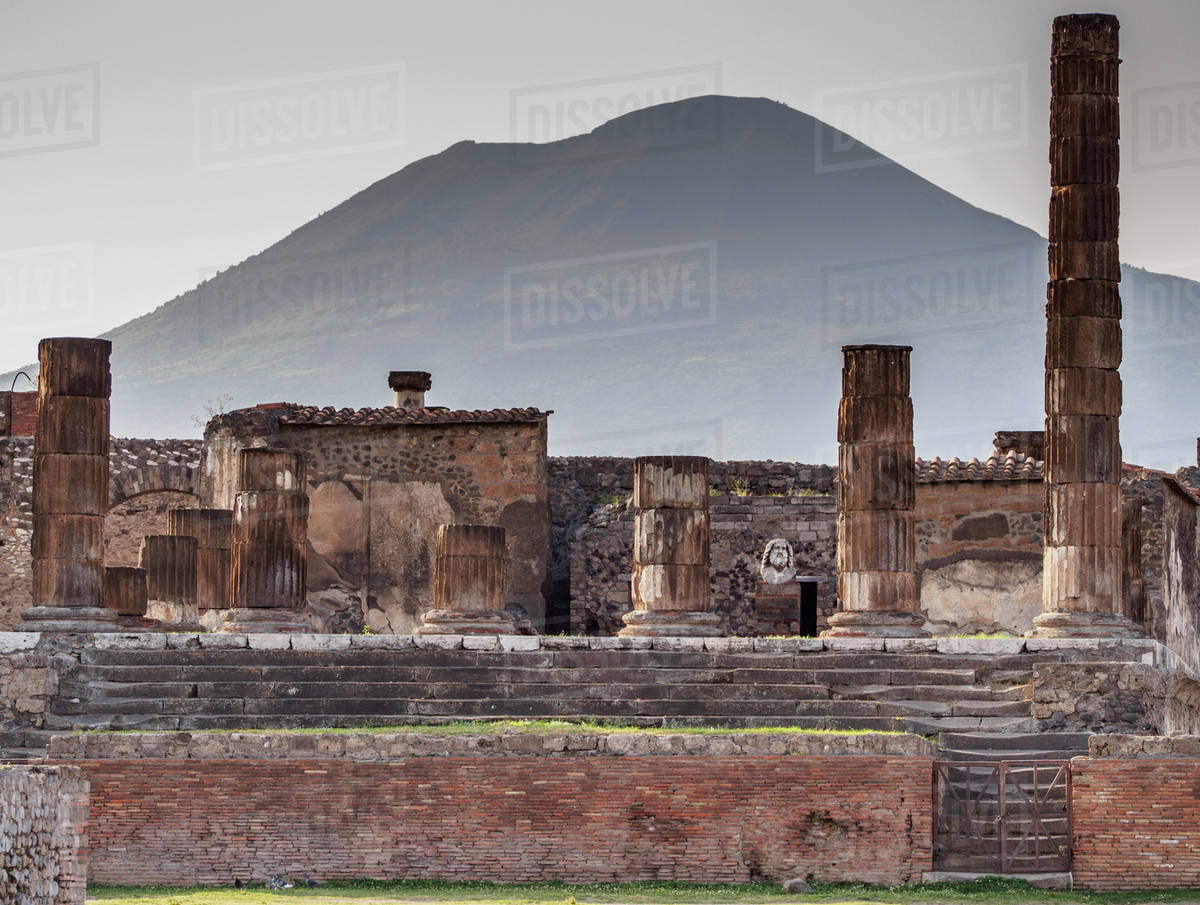 The Temple of Jupiter and Mount Vesuvius in the background near 1200x905