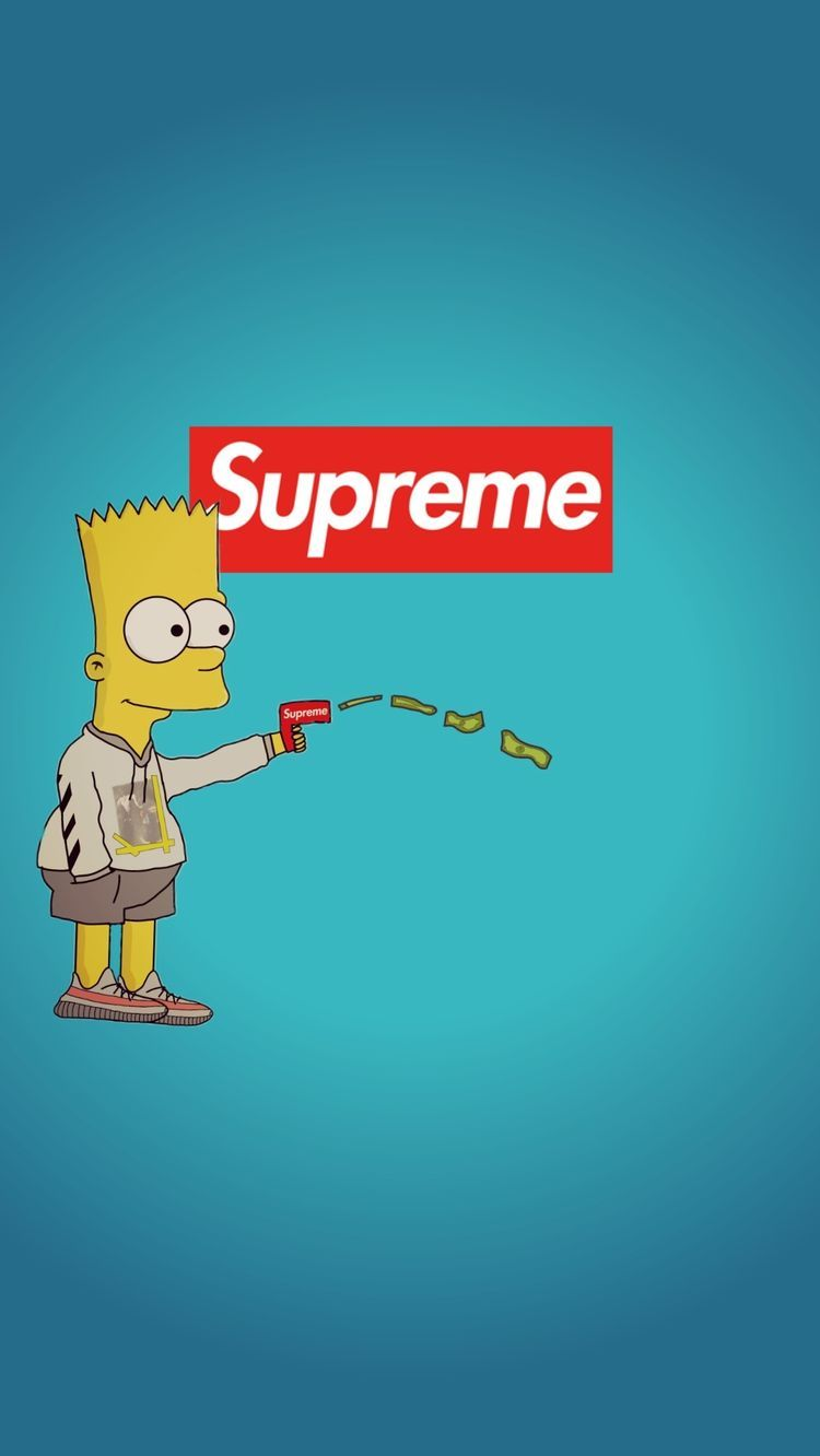Supreme Wallpaper Bart Simpsons   Supreme Wallpaper Bart Simpson 750x1332