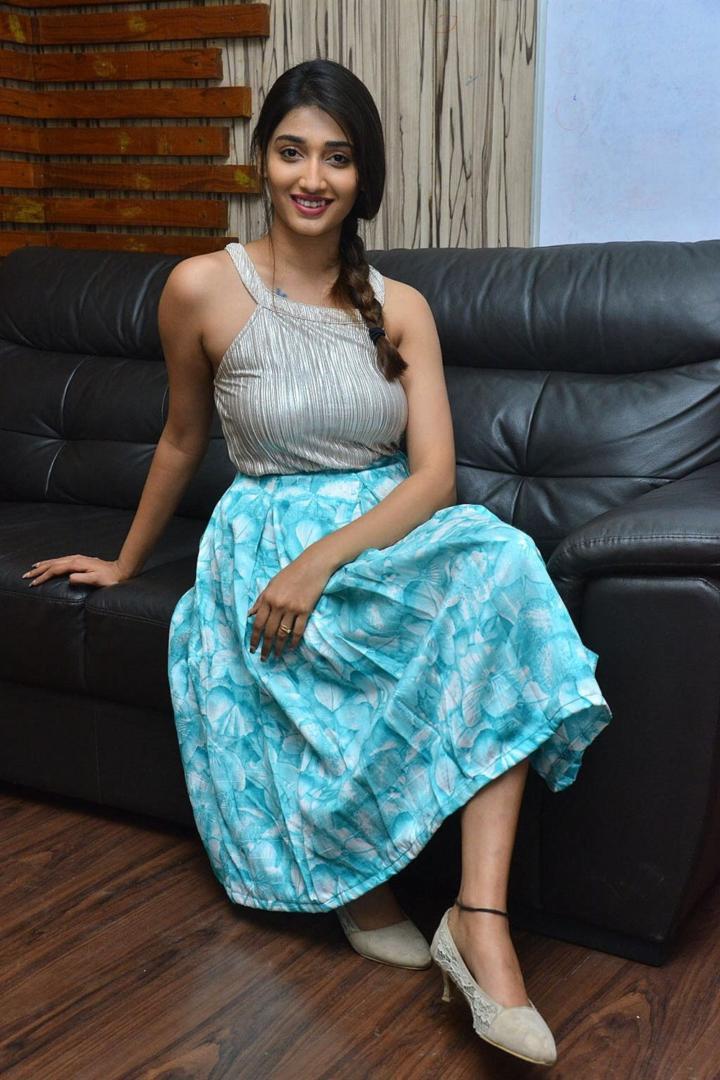 Priya Vadlamani In Blue Top At Telugu Movie Success Meet 720x1080