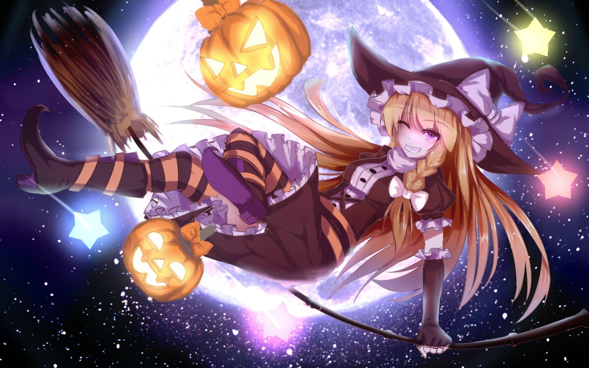 Anime Touhou Halloween Kirisame Marisa HD wallpaper Wallpaper 2000x1250