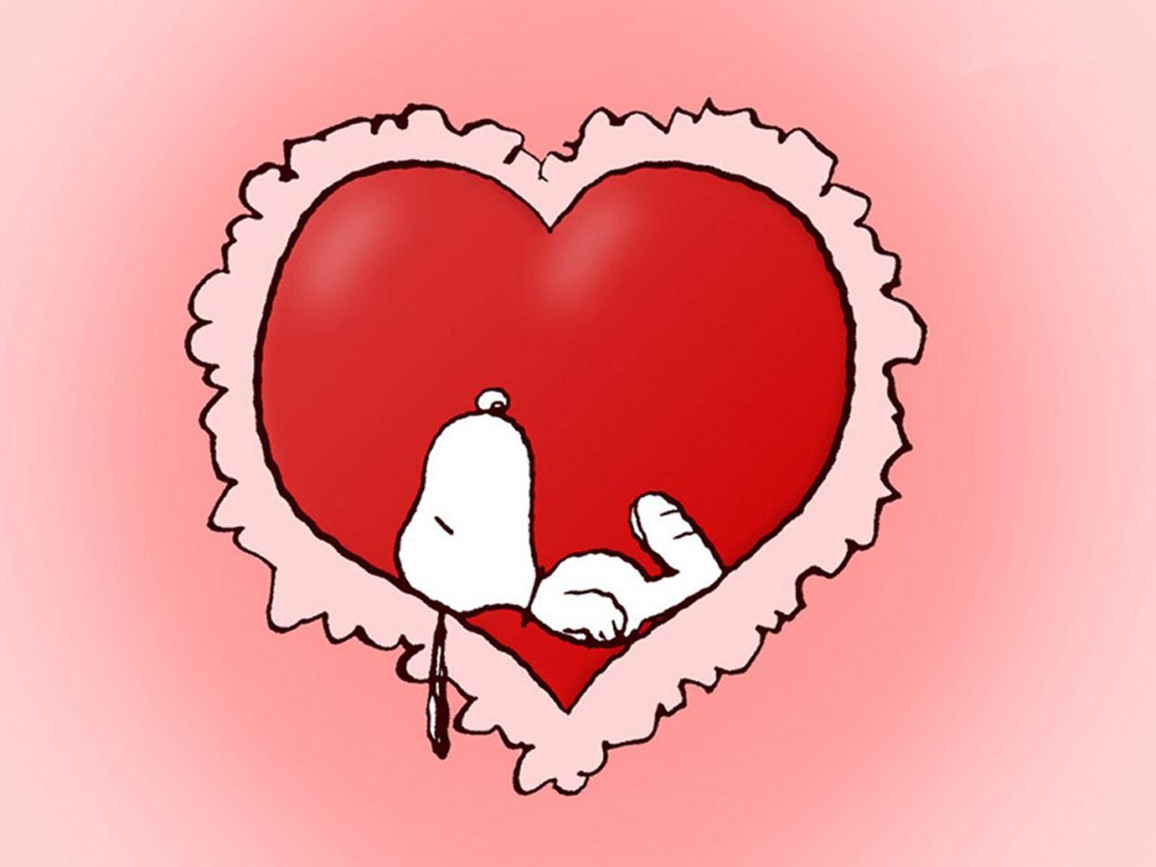 Wallpaper Snoopy acostado en un corazon 1280x960