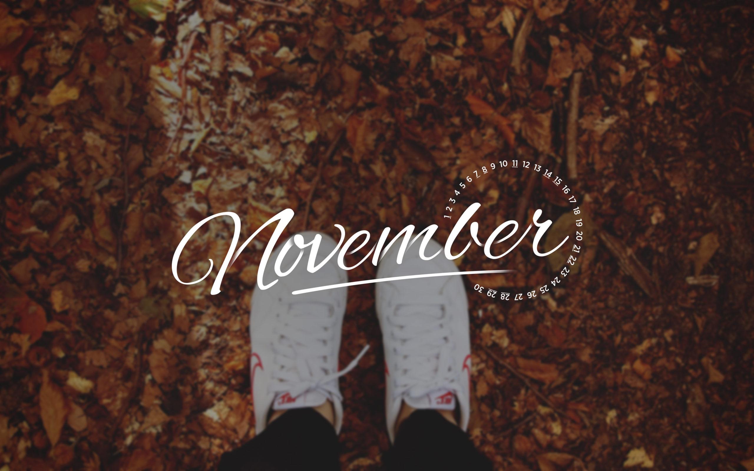 November 2015 Desktop Calendar Wallpaper Paper Leaf 2560x1600