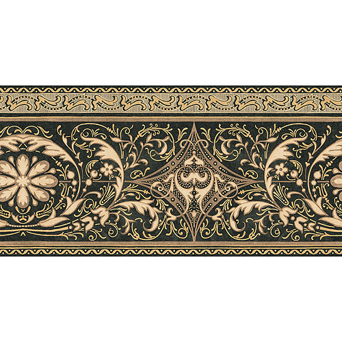 Blue Mountain Arabesque Wallpaper Border Black Brown and Gold 500x500