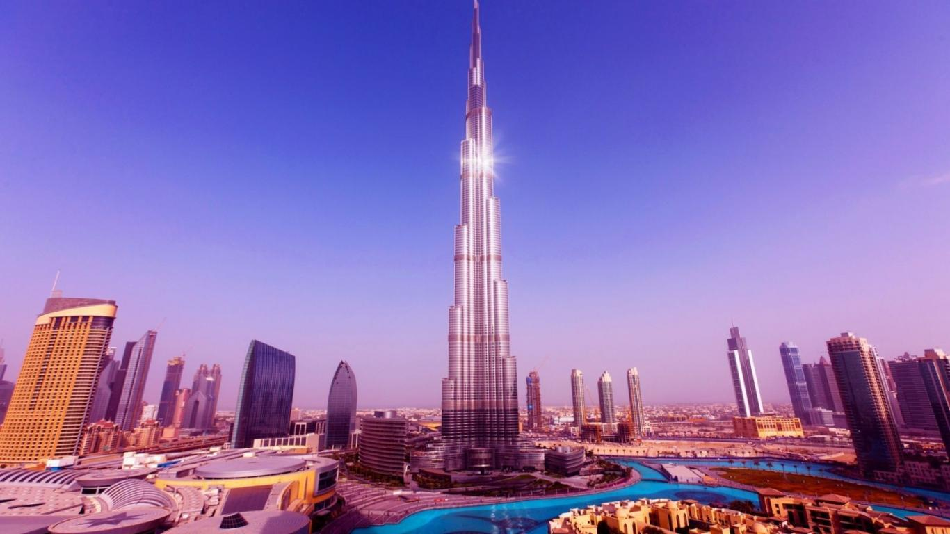 Cityscapes tower buildings united arab emirates burj khalifa 1366x768