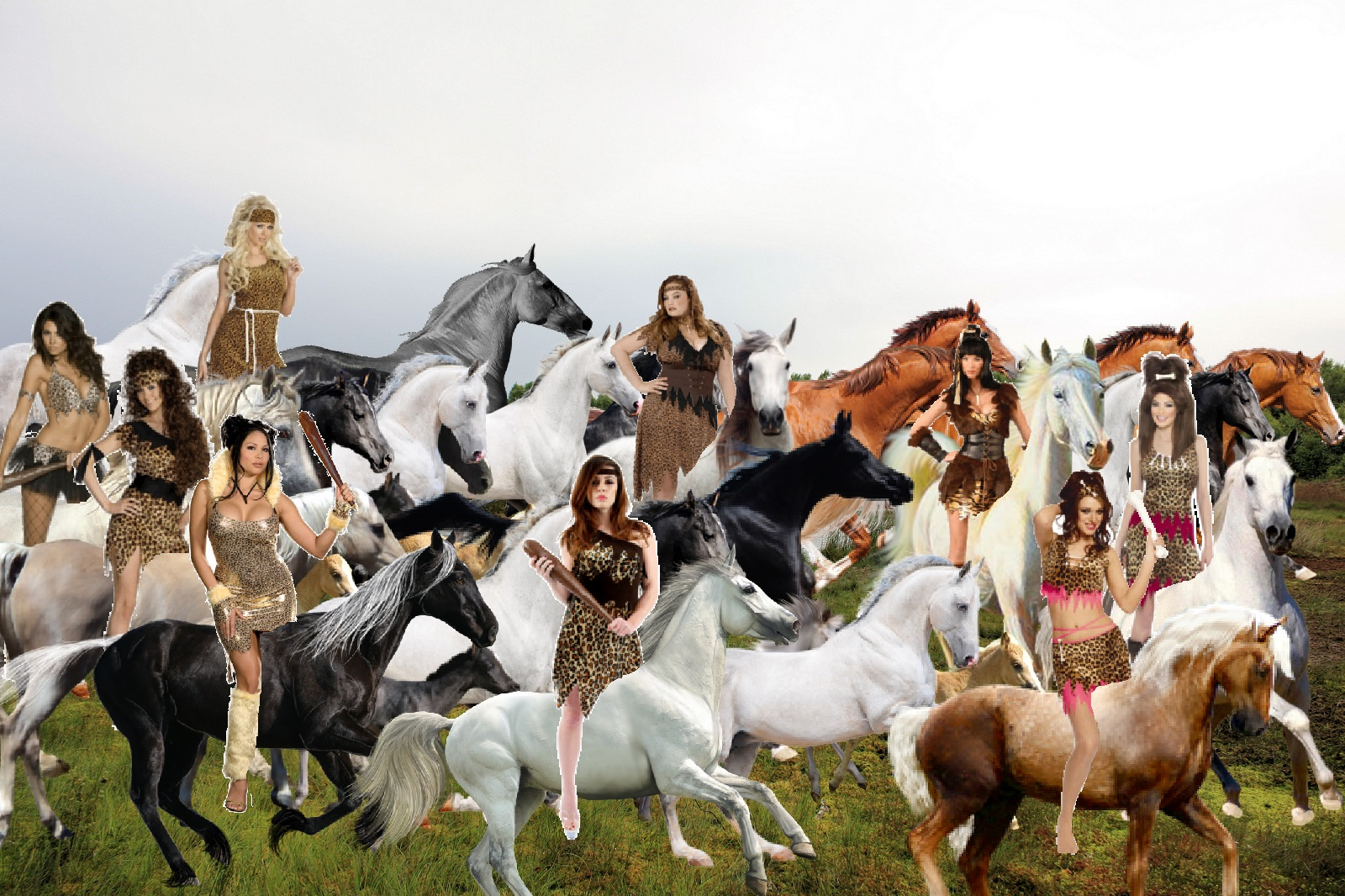 Cavewomen captured Beautiful Wild Mares and their Foals from their 1600x1066