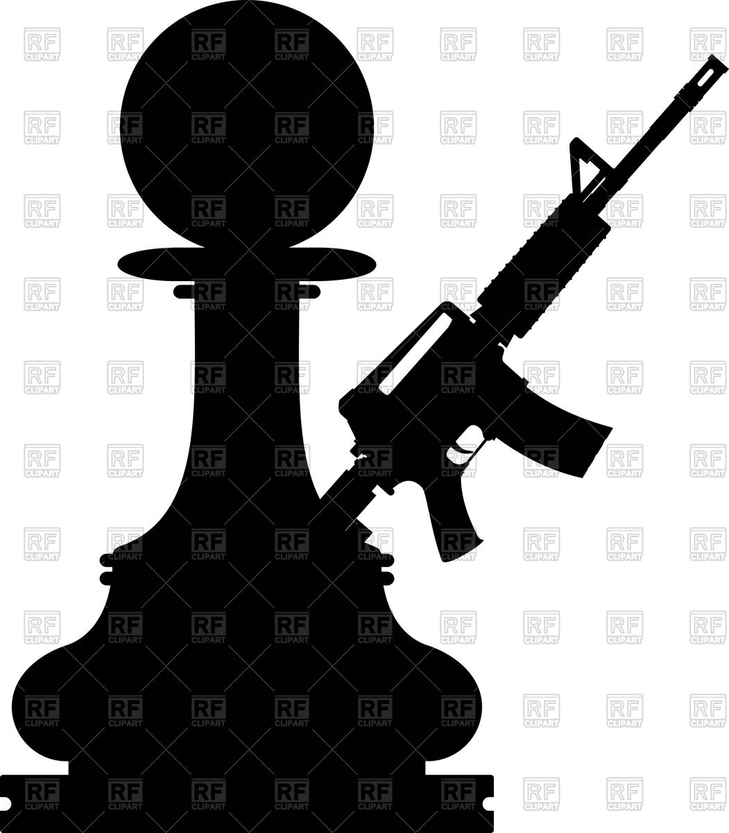 Chess black pawn with assault gun on white background Vector Image 1051x1200