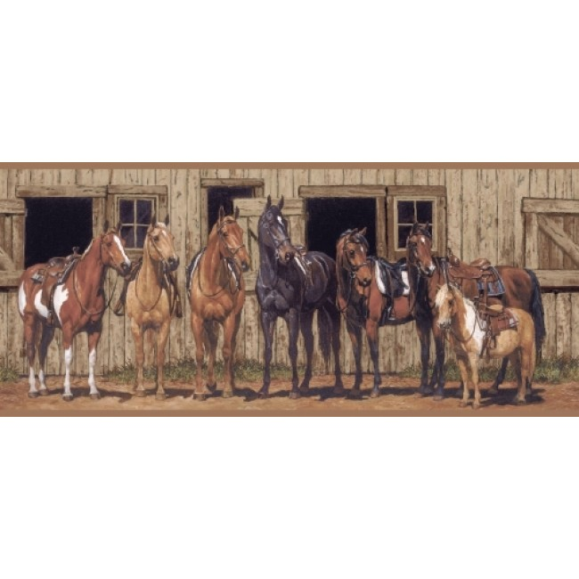 Western Horses At The Stable Wallpaper Border   All 4 Walls Wallpaper 650x650