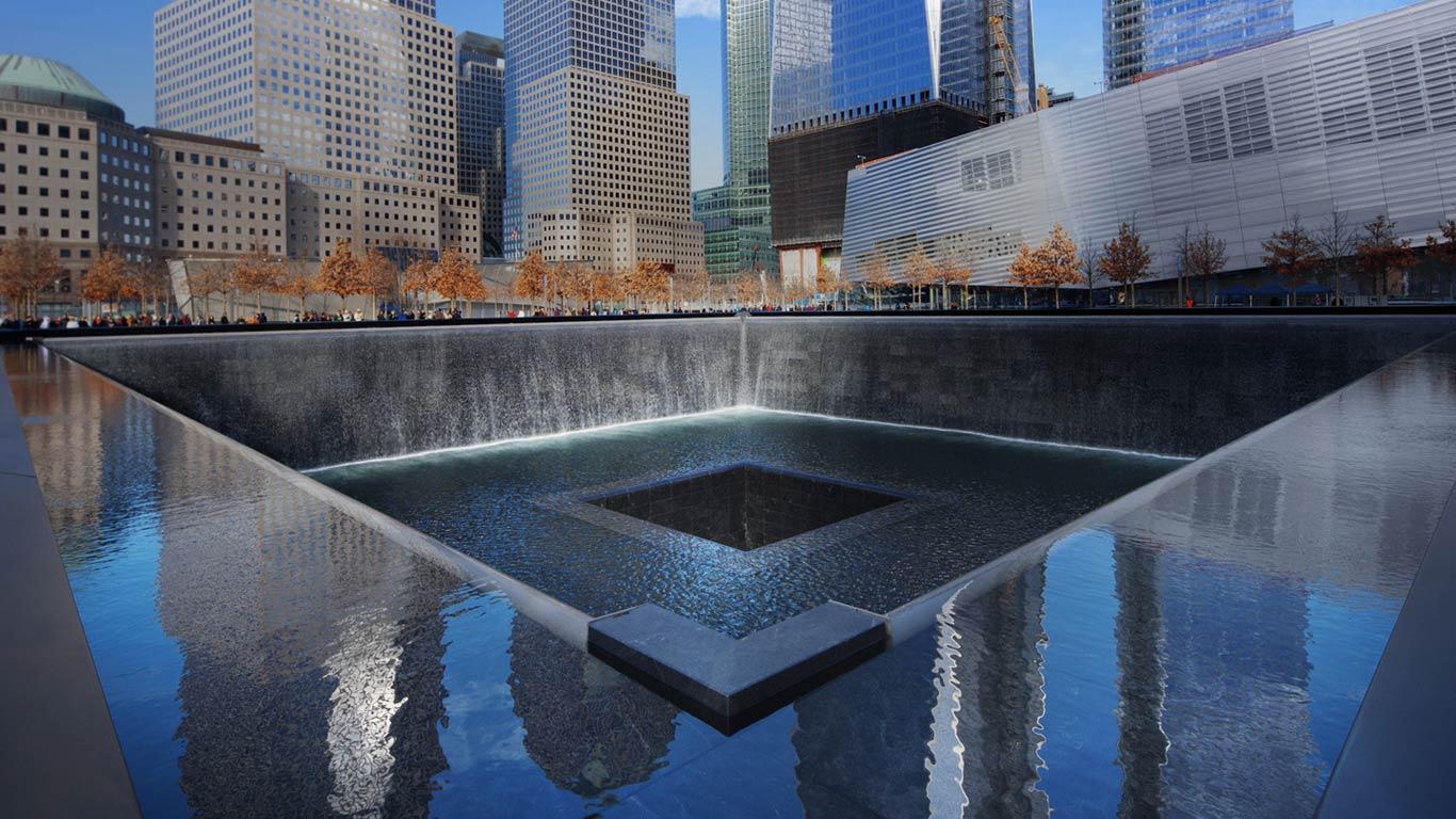 Bing Images   Memorial Fountain   The National September 11 Memorial 1366x768