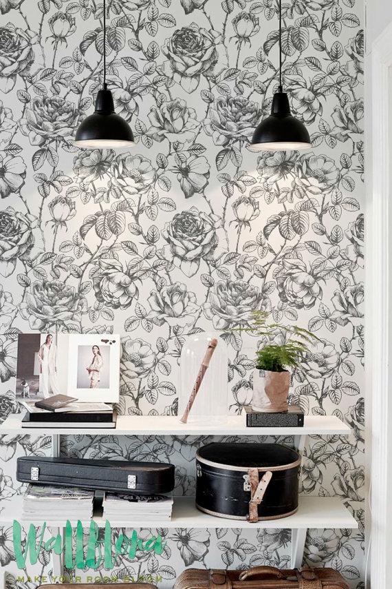Black and White Garden Rose Pattern WallpaperRose Wallpaper 570x855