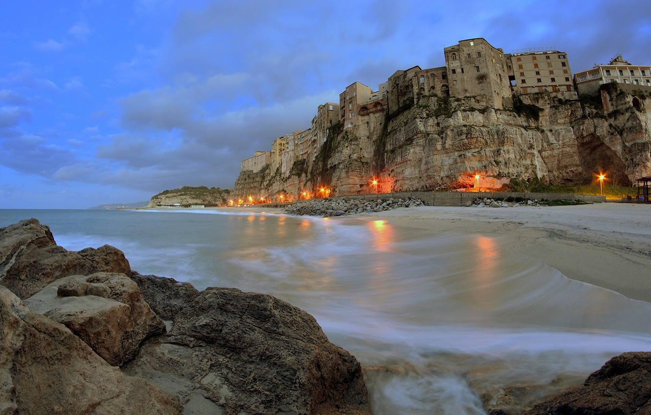 Wallpaper lights sky sea landscape Italy clouds village 1332x850