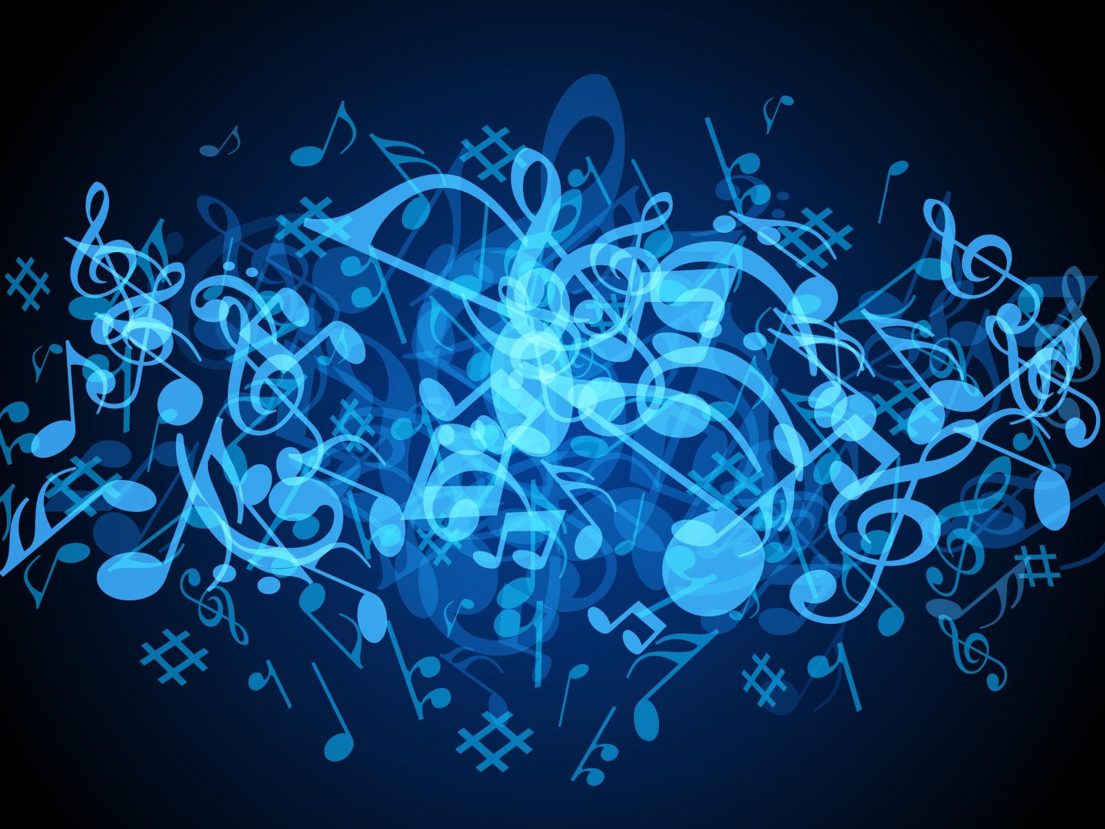 Background image music - Blue Music Notes Background 1