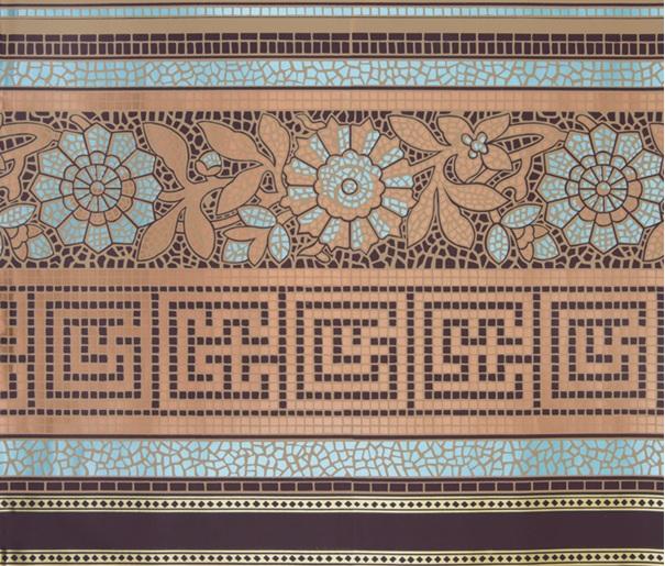 Etruscan Mosaic Frieze 1880s 1900s The Fallon Hotel Columbia CA 605x515