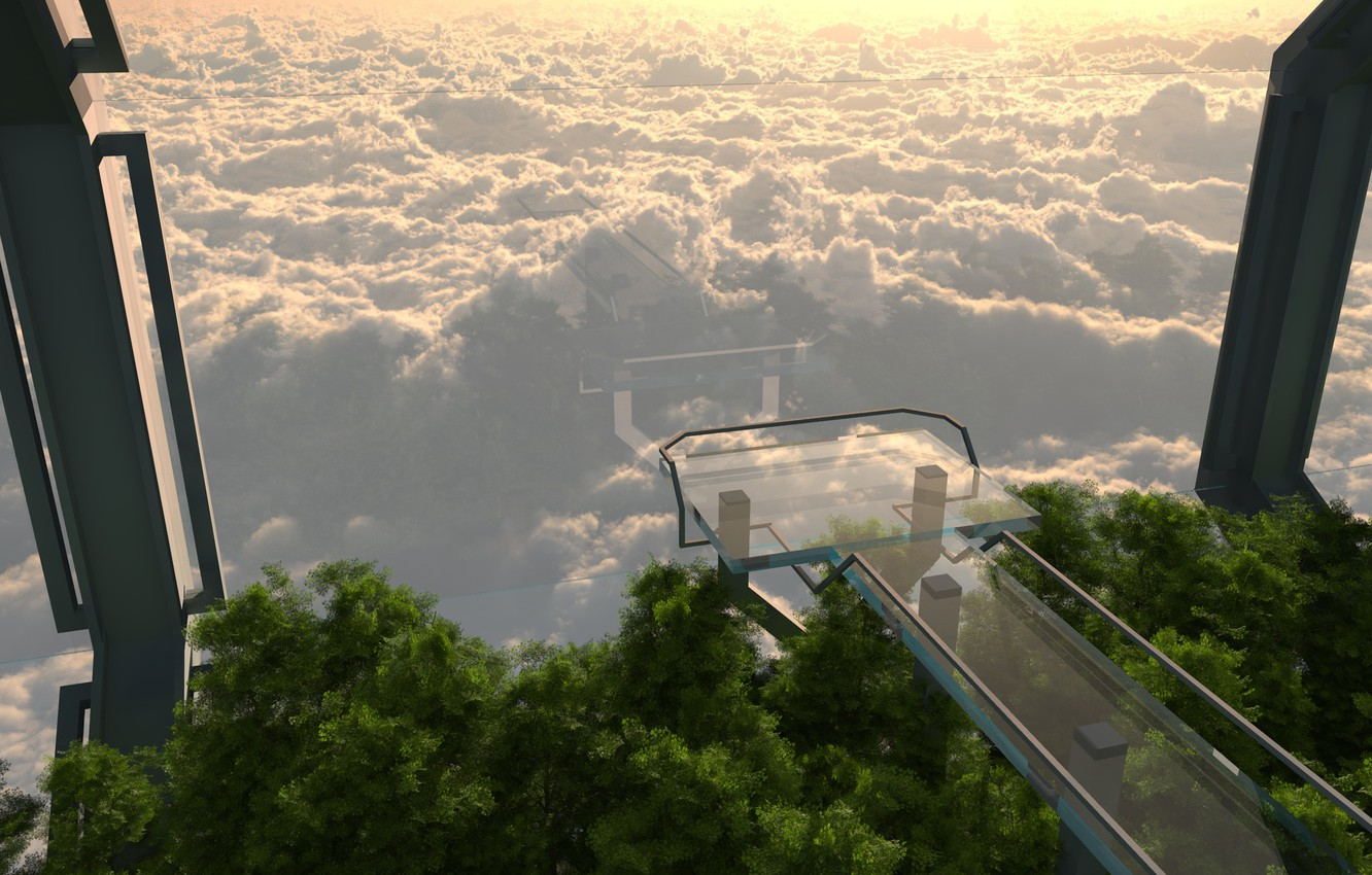 Wallpaper glass tower trees cloud sea overlook images for 1332x850