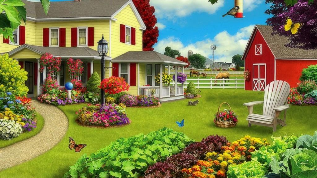 Spring on the Farm Wallpaper 1024x576
