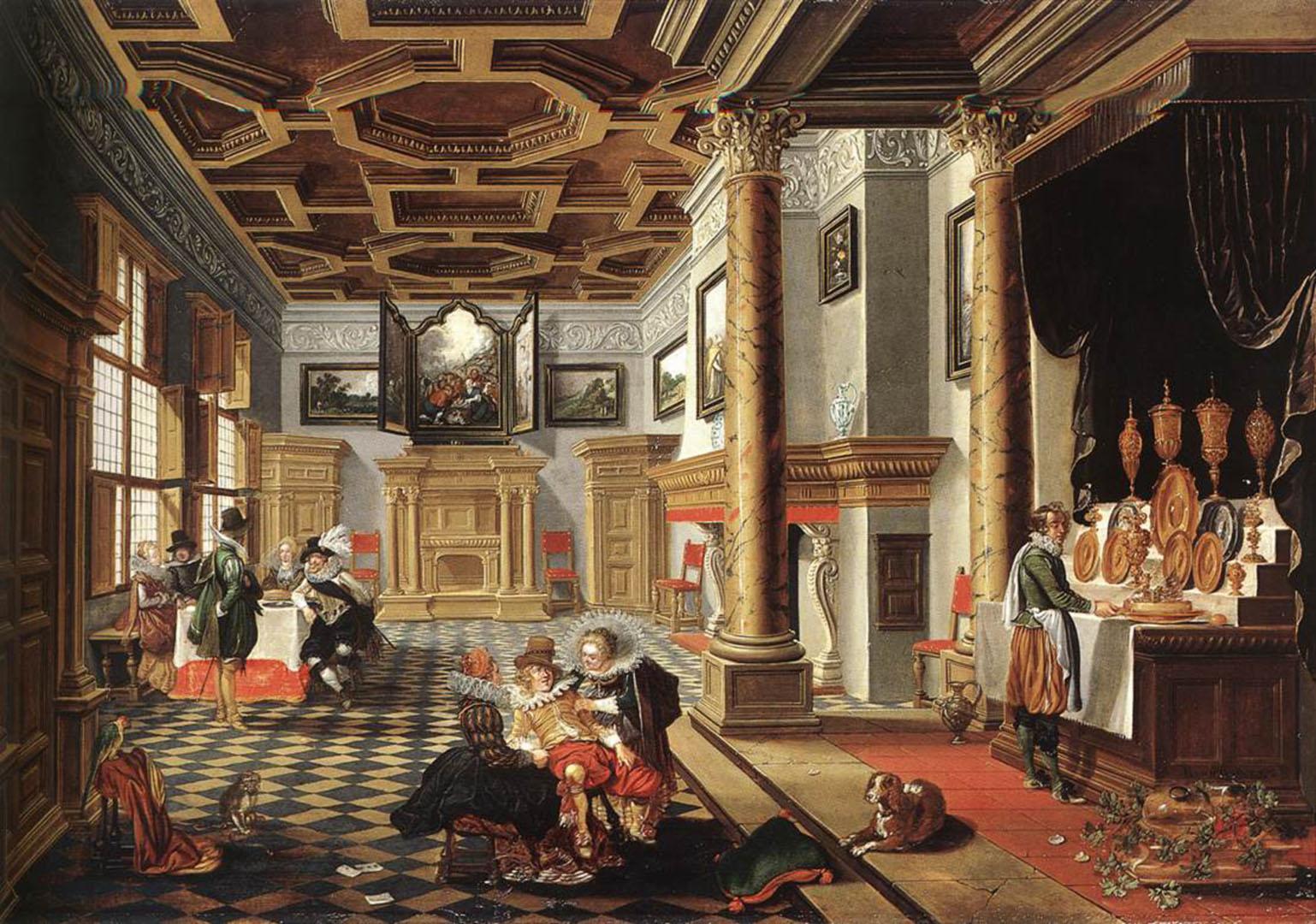 Renaissance Interior With Banqueters   Danish Art Wallpaper Image 1538x1080