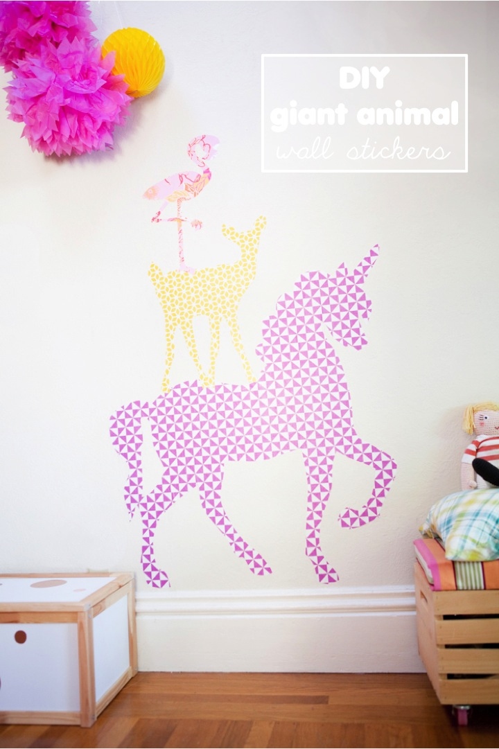 DIY giant animal wall stickers with removable wallpaper 720x1081
