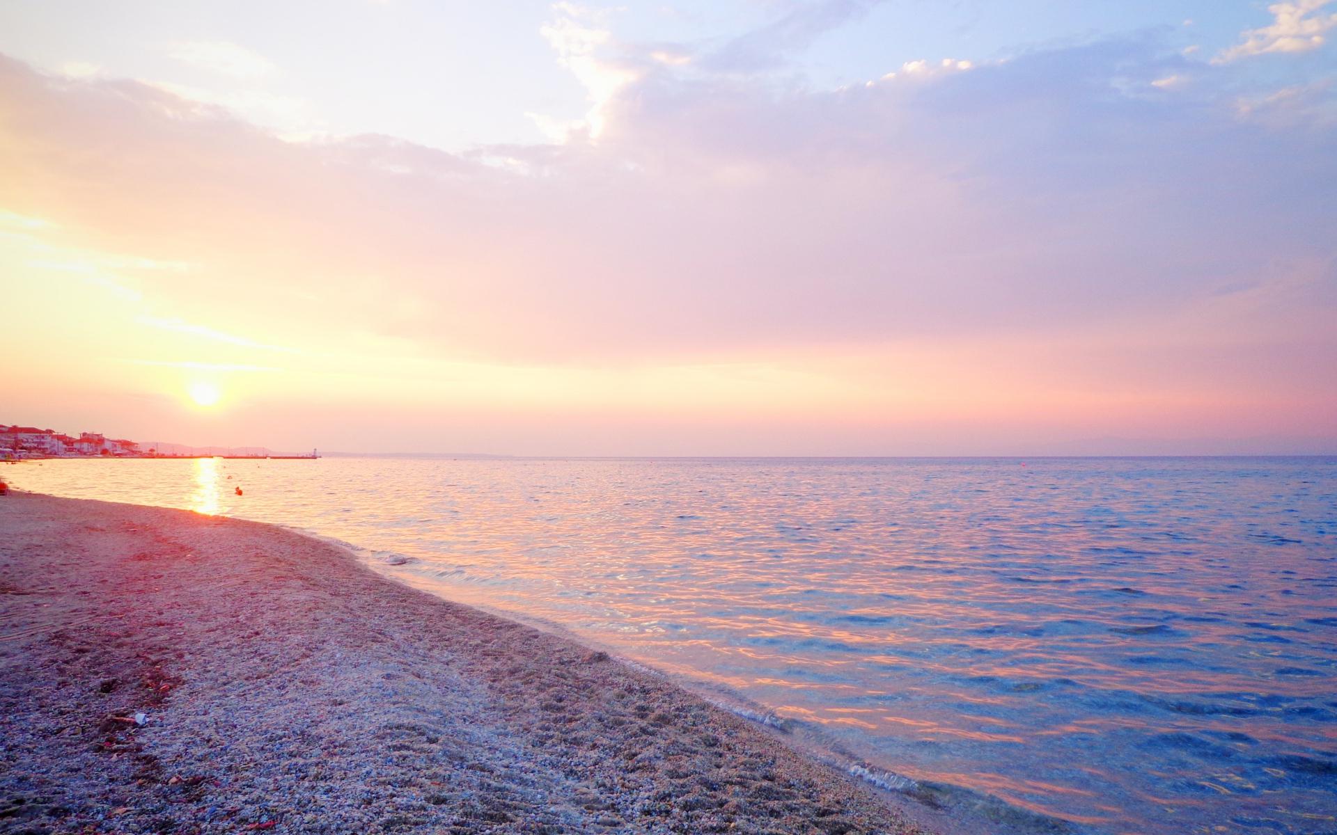 Ocean Beach Pink Sunset Greece wallpapers Ocean Beach Pink Sunset 1920x1200