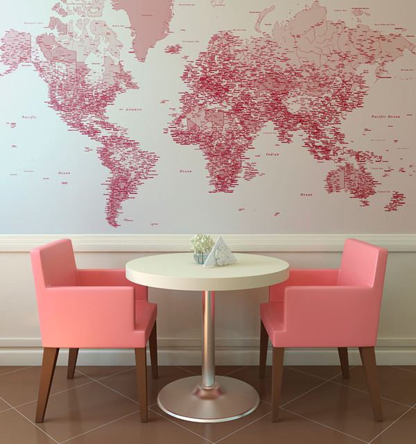 Red World Map Wallpaper   Eclectic   Wallpaper   london   by 600x640