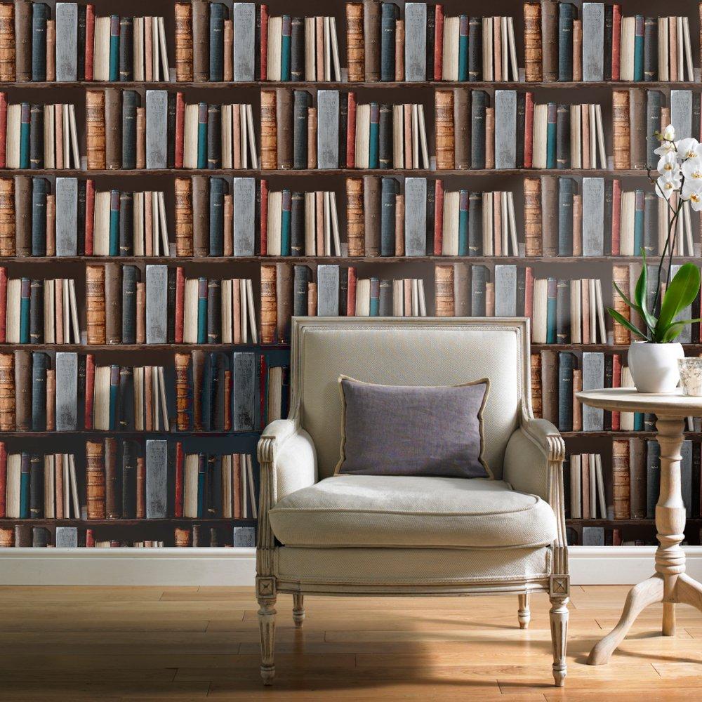 Wallpaper Grandeco Grandeco Ideco Library Books Realistic Book 1000x1000