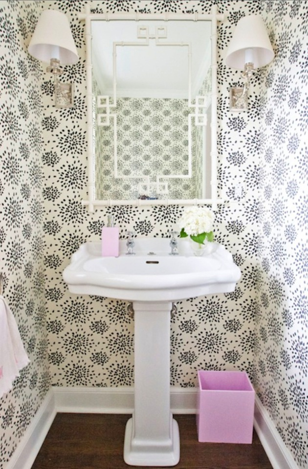 This powder room wallpaper strikes a bit of fun against the 630x961