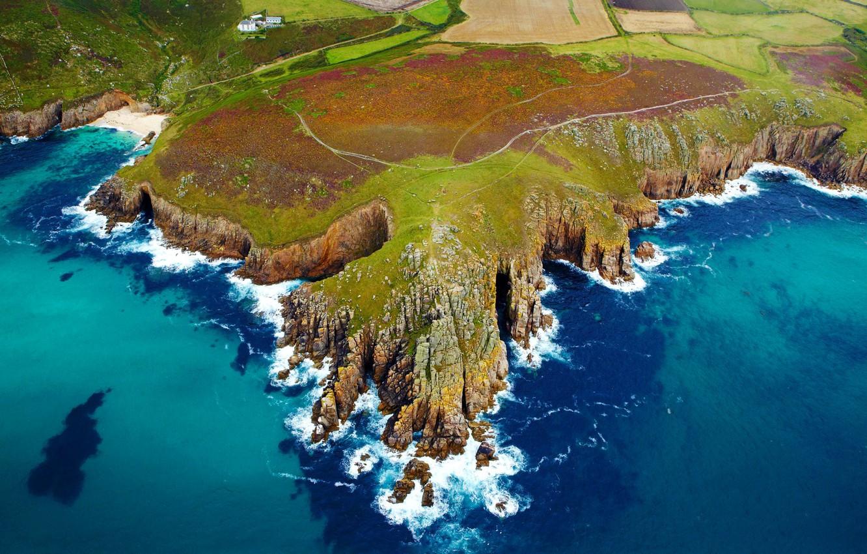 Wallpaper sea coast England Cape Cornwall images for desktop 1332x850