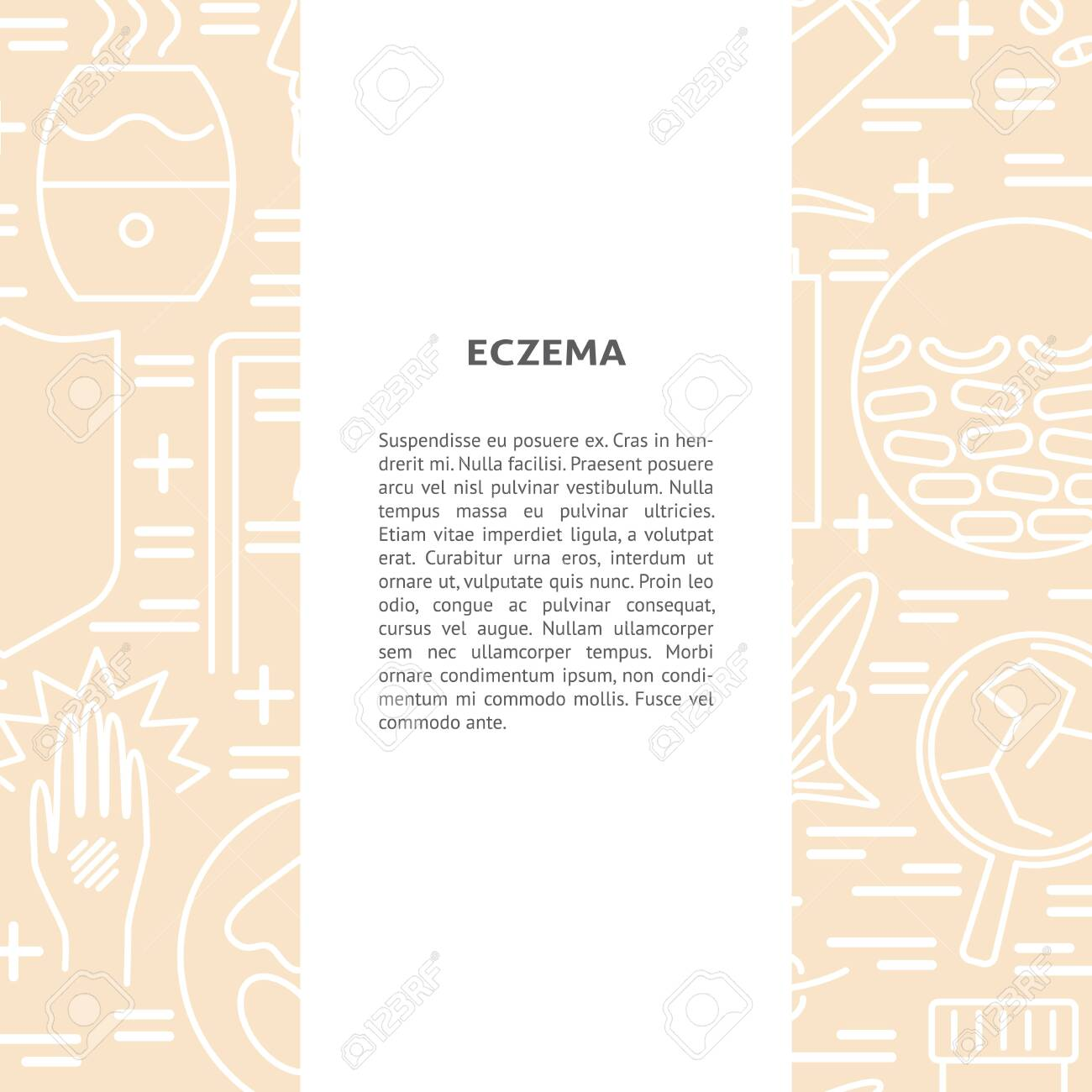 Eczema Symptoms And Treatment Concept Background In Line Style 1300x1300