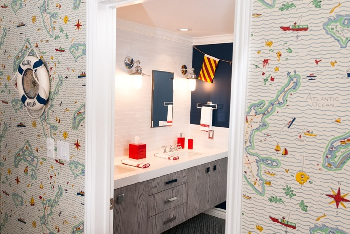 Nautical Bathroom With Doorway Framed