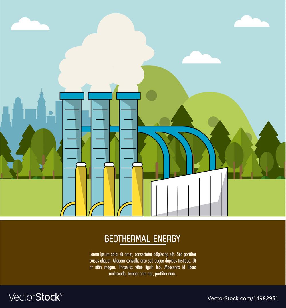 Color landscape background geothermal energy Vector Image 1000x1077