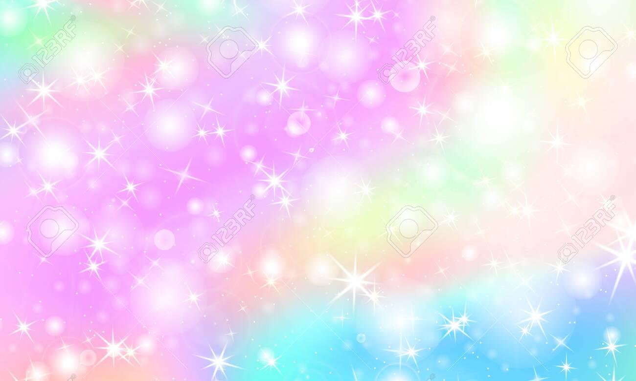 Unicorn Rainbow Background Kawaii Colorful Backdrop With Rainbow 1300x780